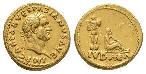 Ancient Roman Imperial Coins - Vespasian - Gold Judaea Capta Aureus