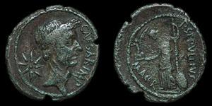 Roman Imperatorial - Julius Caesar - Unpublished P. SEPVLLIVS MACER Denarius