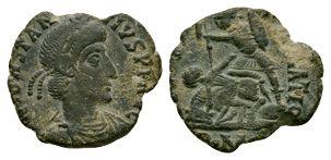 Ancient Roman Imperial Coins - Constantius II - Soldier Spearing Horseman Bronze