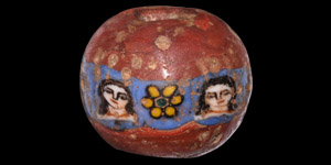 Roman Glass Bead with Faces