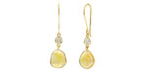 9.47 Carat Rose Cut Sapphire Diamond 18 KT Yellow Gold Tresor Artisan Earrings