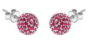 2.10 Carat Round Red Ruby Pave Set 18 KT White Gold Diamond Tresor Stud Earrings