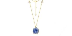 10.82 Carat Rose Cut Blue Sapphire Diamond 18 KT Yellow Gold Pendant Necklace