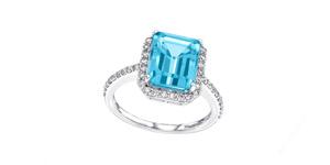 5.00ct Emerald Cut Blue Topaz 0.38 Carat Diamond Halo 18 Karat White Gold Ring