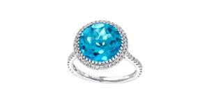 3.75ct Round Blue Topaz Engagement Ring 0.38 Carat Diamond in 18ct White Gold