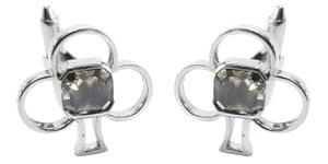 2.60 Carat Asscher Cut Greenish Grey 18 Karat White Gold Diamond Club Cufflinks