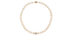 1.80 CT Pave Set Diamond 18KT Rose Gold White Fresh Water Modern Pearl Necklace
