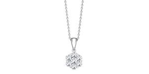 3.00 Carat Round Diamond 18 K White Gold Flower Cluster Tresor Pendant Necklace