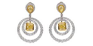 GIA Square Pear 19.38 Carat Yellow White Platinum Diamond Drop Circle Earrings