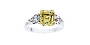 2.19 Carat GIA Fancy Vivid Yellow 1.02ct White Diamond Engagement Ring Platinum