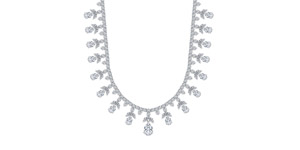 GIA Certified 32.03 Carat Fancy Pear Marquise Shaped Diamond Tiara Necklace