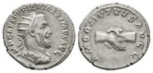 Ancient Roman Imperial Coins - Pupianus - Clasped Hands Antoninianus