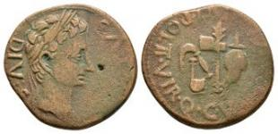 Ancient Roman Provincial Coins - Augustus - Spain - Carthago Nova - Priestly Implements As