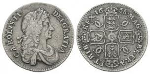 English Milled Coins - Charles II - 1668 - Shilling
