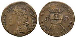 World Coins - Ireland - James II - February 1689 - Gunmoney Large Shilling