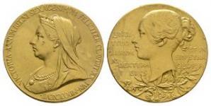 British Commemorative Medals - Victoria - 1897 - Gold Small Diamond Jubilee Medallion