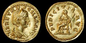 Roman Empire - Herennia Estruscilla - Gold Aureus - Pudicitia Seated