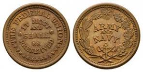 World Coins - USA - Army & Navy - Civil War Token Cent