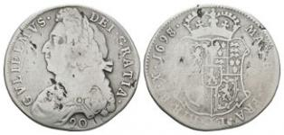 World Coins - Scotland - William III - 1698 over 7 - 20 Shillings