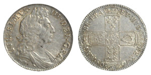 English Milled Coins - William III - 1698 - Halfcrown