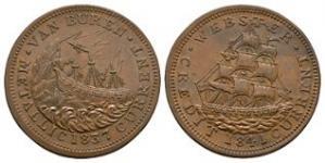 World Coins - USA - Daniel Webster - 1841 - Hard Times Token Cent