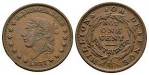 World Coins - USA - Liberty Not One Cent - 1837 - Hard Times Token Cent