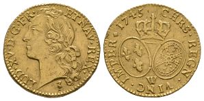 World Coins - France - Louis XV - 1745W - Gold Louis dOr