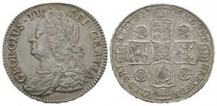 English Milled Coins - George II - 1745 D NONO - Halfcrown