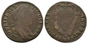 World Coins - Ireland - William III - 1696 - Halfpenny