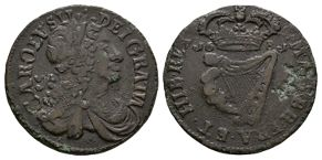 World Coins - Ireland - Charles II - 1681 - Halfpenny