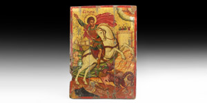 Greek Icon with Saint George and the Dragon