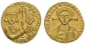 Ancient Byzantine Coins - Justinian II with Tiberius - Gold Christ Solidus