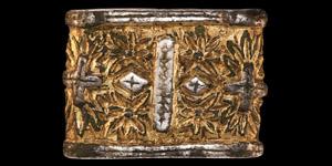 Viking or Carolingian Gold Chip-Carved Sword Belt Mount