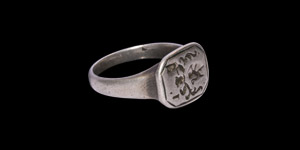 Tudor Silver Signet Ring with Rampant Lion