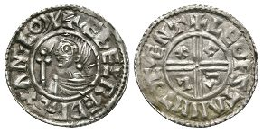 Anglo-Saxon Coins - Aethelred II - Canterbury / Leofstan - CRVX Penny