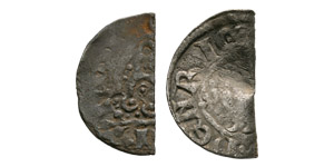 English Medieval Coins - Henry III - Bent Penny and Cut Halfpenny [2]