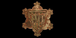 Medieval Gilt Haversage Family Heraldic Horse Harness Stud with Shield