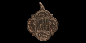 Medieval Heraldic Horse Harness Pendant with Sword and Key