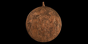 Large Medieval Heraldic Horse Harness Pendant with Maidens Holding a Shield
