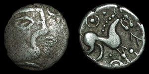 British Celtic - Iceni - Early Face/Horse Type - Silver Unit