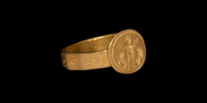 Byzantine Gold Ring with Saint