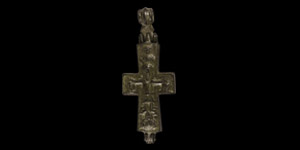 Byzantine Reliquary Cross Pendant with Saints