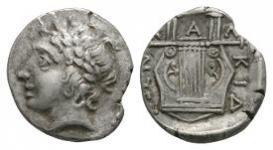 Ancient Greek Coins - Macedonia - Chalkidian League - Lyre Tetrobol