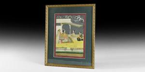 Indian Framed Gilt Harem Painting