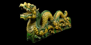 Chinese Ming Glazed Dragon Roof Tile