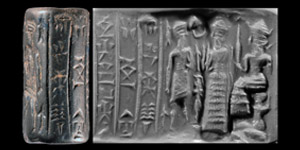 Western Asiatic Old Babylonian Cylinder Seal with Presentation Scene