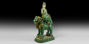 Chinese Ming Glazed Lion and Goddess Statue