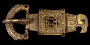 Large Gothic Gilt Silver Buckle with Raven and Eagle Heads