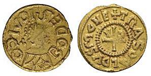 Saxon Coins - Merovingian - Vic-sur-Seille (Meurthe-et-Moselle) - Bodesius / Trasoaldus - Gold Portrait Tremissis