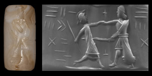 Western Asiatic Graeco-Babylonian Cylinder Seal with Fighting Scene
